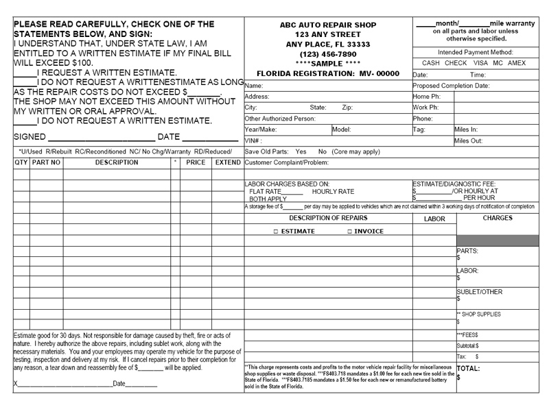 Florida motor vehicle repair invoice for Florida auto repair invoice