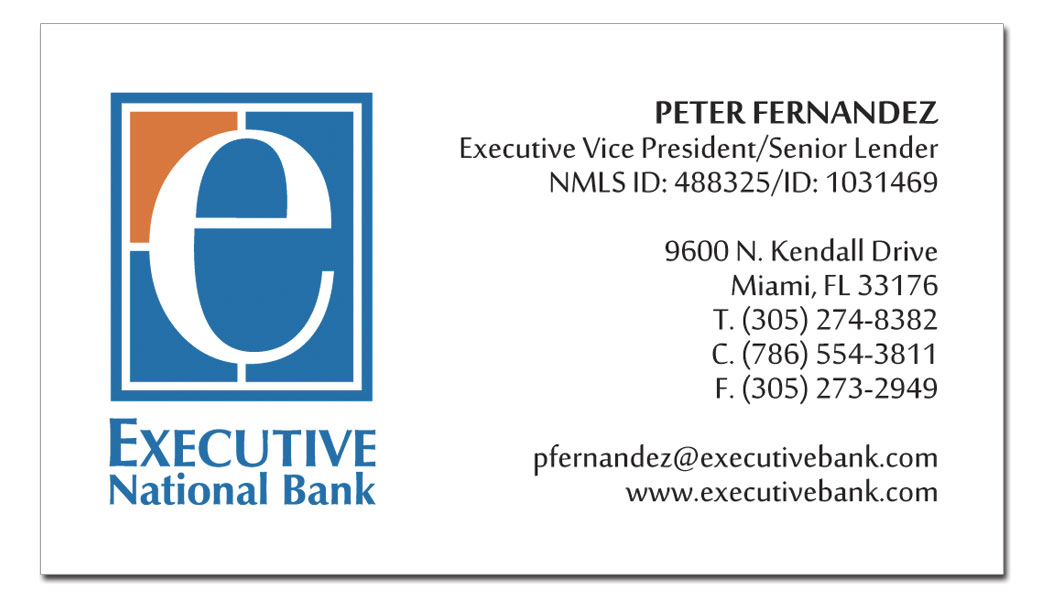 Executive national bank business cards executive printers of florida executive national bank business cards reheart